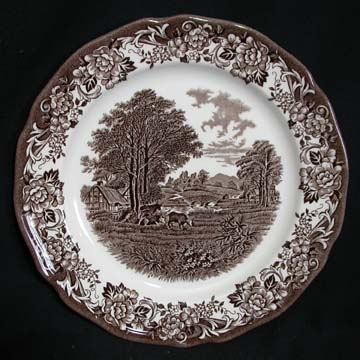 J & G Meakin Romantic England - Brown/White Plate - Dinner