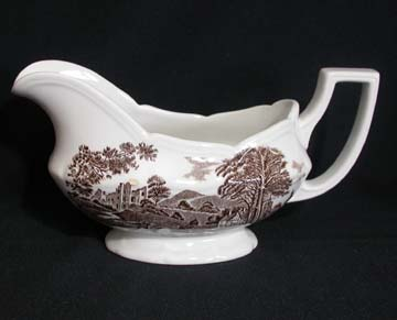 J & G Meakin Romantic England - Brown/White Gravy Boat Only