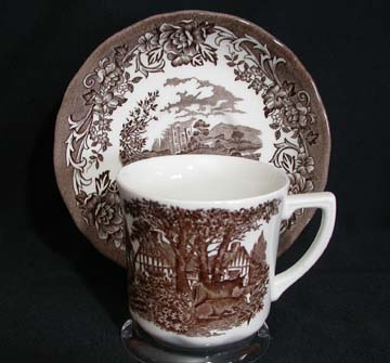 J & G Meakin Romantic England - Brown/White Cup & Saucer