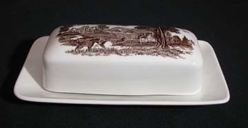 J & G Meakin Romantic England - Brown/White Butter Dish - Oblong