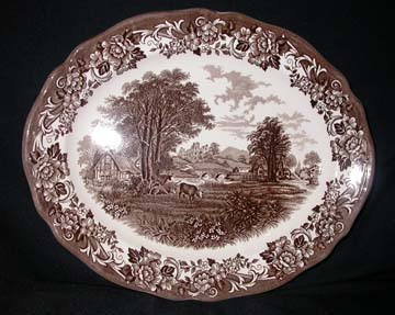 J & G Meakin Romantic England - Brown/White Platter