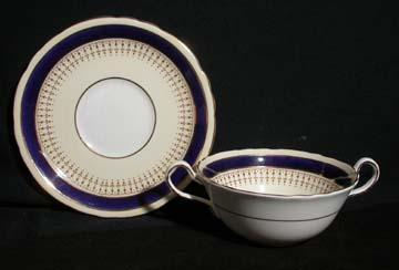 Aynsley #7301 - Cobalt Cream Soup & Saucer Set - Footed