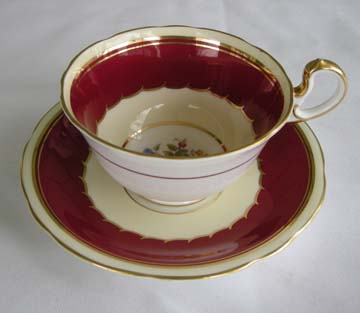 Aynsley #7439  Dark Red Cup & Saucer