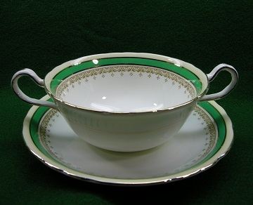 Aynsley Wendover - Green Cream Soup & Saucer Set - Footed