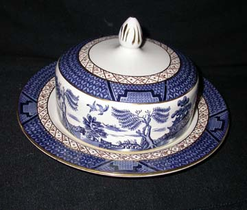 Booths Real Old Willow  A8025 Butter Dish - Covered - Round Base