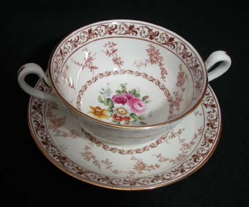 Cauldon Floral Melody V9808 Cream Soup & Saucer Set - Footed