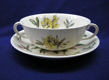 Johnson Brothers - Windsorware Azalea Cream Soup & Saucer Set - Footed