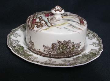 Johnson Brothers The Friendly Village Butter Dish - Covered - Round Base - Sugar Maples