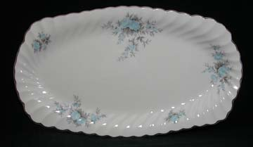 Johnson Brothers Regency - White /Blue Flowers/Grey Leaves/Silver Edge Tray - Sandwich/Large