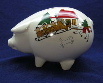 Mason's Christmas Village Bank - Pig - Without Stopper At Bottom