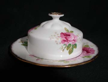 Royal Albert American Beauty Butter Dish - Covered - Round Base