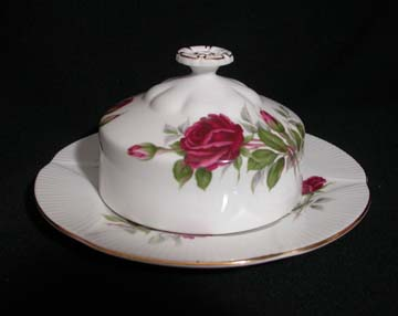 Royal Albert Royal Canadian Rose Butter Dish - Covered - Round Base