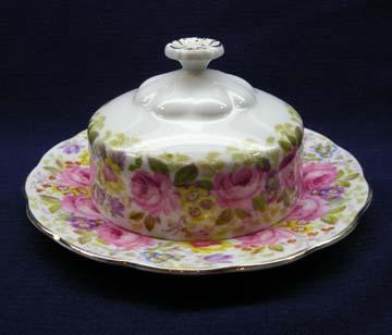 Royal Albert Serena Butter Dish - Covered - Round Base