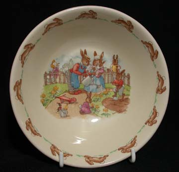 Royal Doulton Bunnykins 17 - Oatmeal Bowl - Watering The Flowers - Signed