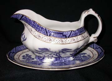Royal Doulton Real Old Willow Gravy Boat & Underplate