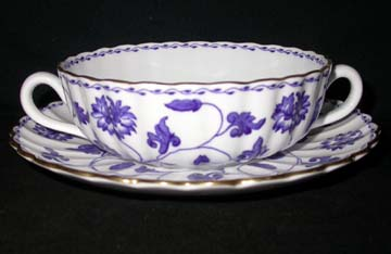 Spode Colonel Y6235 Cream Soup & Saucer Set - Footed