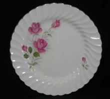 Regency - Pink Flowers/Green Leaves/Silver Edge
